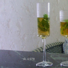 hand made embossed pattern clear long stem champagne glass