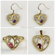Heart Shape Wholesale Costume Jewelry Set With Colorful Zircon