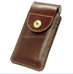 Hot selling luxury flip leather mobile phone pouch case in Dongguan