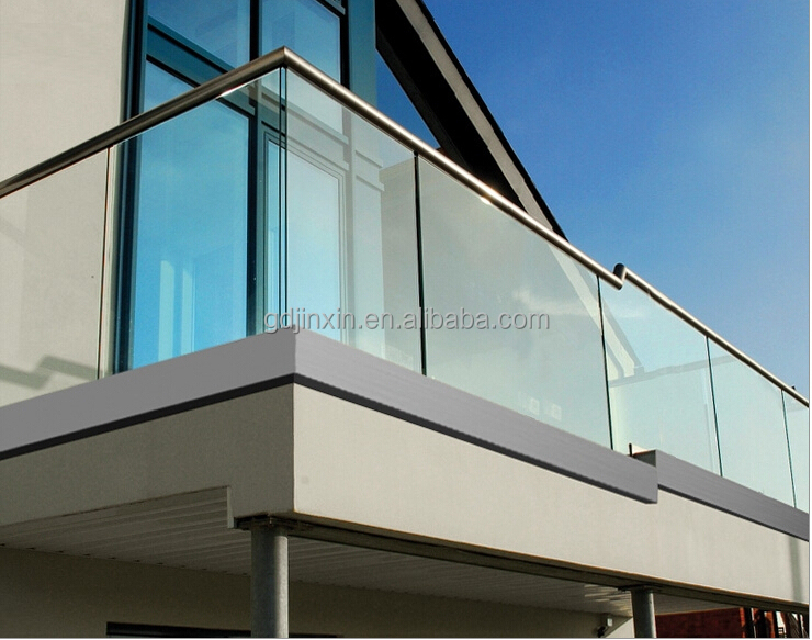 Modern design exterior stainless steel frameless glass for Modern balcony railing design