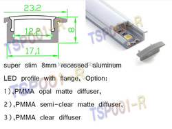 (TSP001-R )LED super slim 8mm recessed anodized aluminum profile door frame with flange