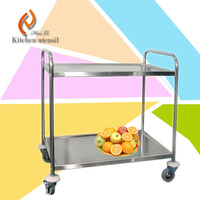 Stable duable 304 stainless steel commercial kitchen food serve trolley cart for hotel restaurant