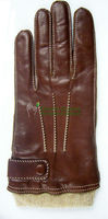Fashion hair sheep skin leather glove mens, with knit rib cuff and leather strap, contrast stitching