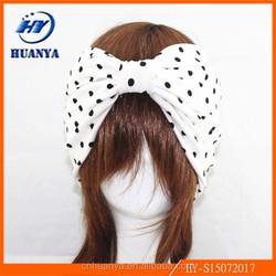 European and American retro black and white dots Cotton intermediate tie tight wide headband