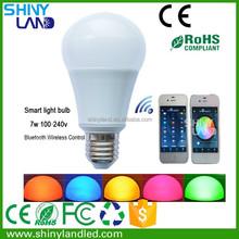 bluetooth wireless control multicolor 7w LED Smart Lighting bulb