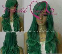 fashion long wavy green color cosplay wigs synthetic wig