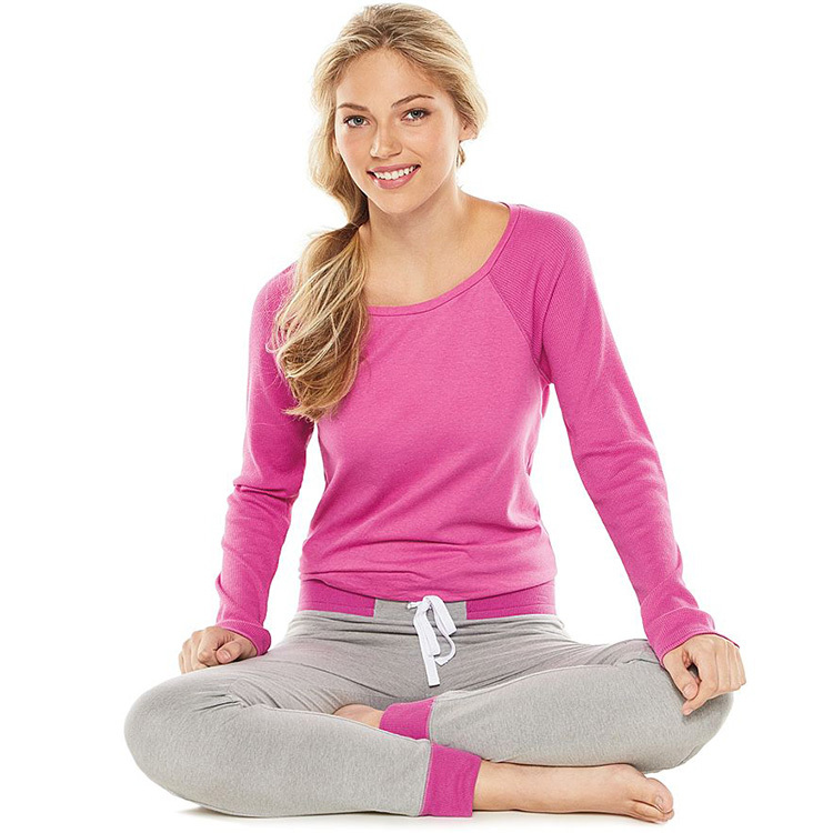 Custom Jersey tissu adulte femmes pyjama, Plaine coton pyjama mis en vrac fit