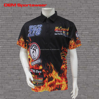 Custom button up racing team pit crew shirts with flames