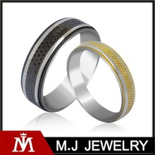 Fashionable Never Fade Stainless Steel Two Tone Couple Rings for Lovers