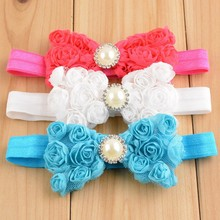 Handmade crochet baby bowknot rinestone headband flower hairband for girlsT-81