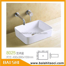 BAISHI Chaozhou Hot White Sanitary Ware bathroom square counter top basin Wash Hand Basin 8025