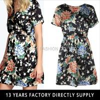 ORIENTAL PRINT WRAP TOP FLOWER DRESS
