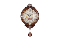 Living Room Wooden Glass Art Painting Cheap Pendulum Wall Clock for Elderly GBZ-9013P