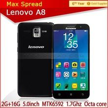 Original Lenovo A808t A8 5'' MTK6592 Octa Core Dual sim Camera 5/13.0MP 2G RAM 16GB ROM 4g android mobile