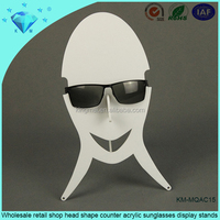 Wholesale retail shop head shape counter acrylic sunglasses display stands