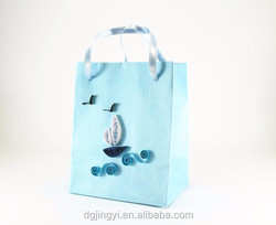 3D shape blue color origami paper gift bag/fancy/wedding gift paper gift bag