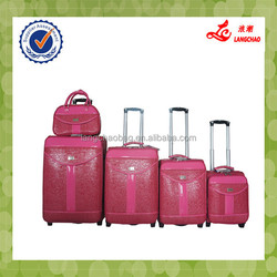 Full Set Rose Red Strong Handle And Custom President Luggage Airport Trolley Luggage