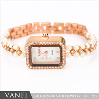 2015 Fashion Pearl Decoration Fancy Bracelet Watch Lady