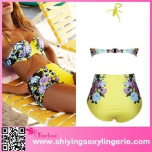 2015 latest sexy women yellow flower floral print www sex photos com High Waisted bikini