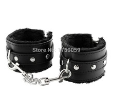 Soft Black PU Leather Hand Cuffs Couple Games Toy Restraint Bondage PlayChain Sex Toys Costume Tools