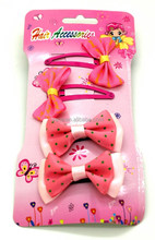 2015 hot sell warm pink collection polka dots bow baby hair clip for teen girls and baby