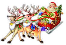 fiesta de navidad de papel de decoración de santa claus con renos etiqueta de la pared