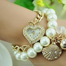 2015 Korean latest popular pearl chain hand watch for girl
