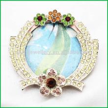 oval plateado estaño estaño simple de cristal marco de fotos
