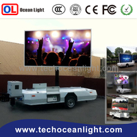 mobile truck trailer outdoor rotating led display p10 dip outdoor / dl100 hd module P10 led trailer led display screen