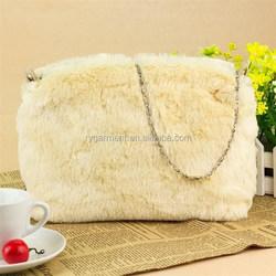 Lady faux animal ladies fur bags, fashionable rabbit fur bag, fake fur bag