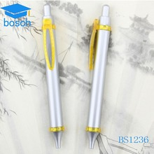 Gold color clip manual plastic pen with logo
