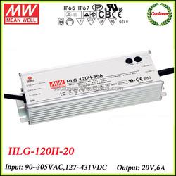 Meanwell HLG-120H-20 0-10v dimming led driver 20v 6a