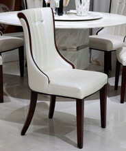 Elegant White PU Upholstered Wooden Dining Chair