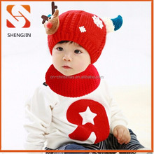 Wholesale Animal Handmade Crochet reindeer Baby xmas hat Knitting Winter beanie Hats