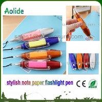 multi function ballpoint pen with notepaper light pen Plastic advertising ballpoint pen