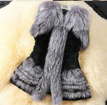 high quality artificial silver fox fur women fur leather vest coat JH-CO-149