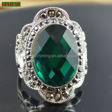 Women's fashion CZ stone sterling silver ring Big Emerald cz sterling silver ring with wholesale price