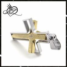 Luxury Brazilian Gold Plated Stainless Steel Double Cross Pendant