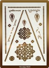 Fashionabe Design High Quality Hot Sale Metalic temporary tattoo Golden Custom Flash Temporary Tattoos