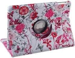 360 Rotating Small Flowers Red PU Leather Smart Cover