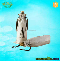 reuseable cotton single wine bottle bags