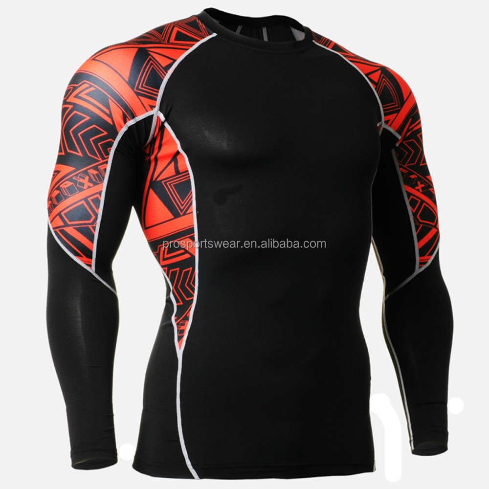 2015 Mens Clothing Compression Shirts Printed Rash Guard