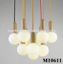 LED wooden top with glass ball pendant lights