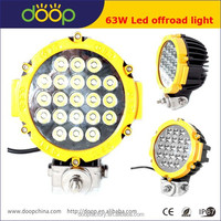 New product 4x4 commercial electric led driving light IP67 waterproof yellow spot beam 63W led work light