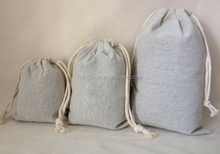 High quality cheap mini linen drawstring bag commercial linen bag small linen bags for jewelry necklace