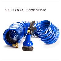 (3105) Factory Price Flexible EVA 50Ft Garden Water Coiled Hose with Hose End Sprayer Nozzle