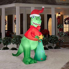 5' Inflatable T-Rex Santa Dinosaur with christmas tree for christmas Eve house decoration