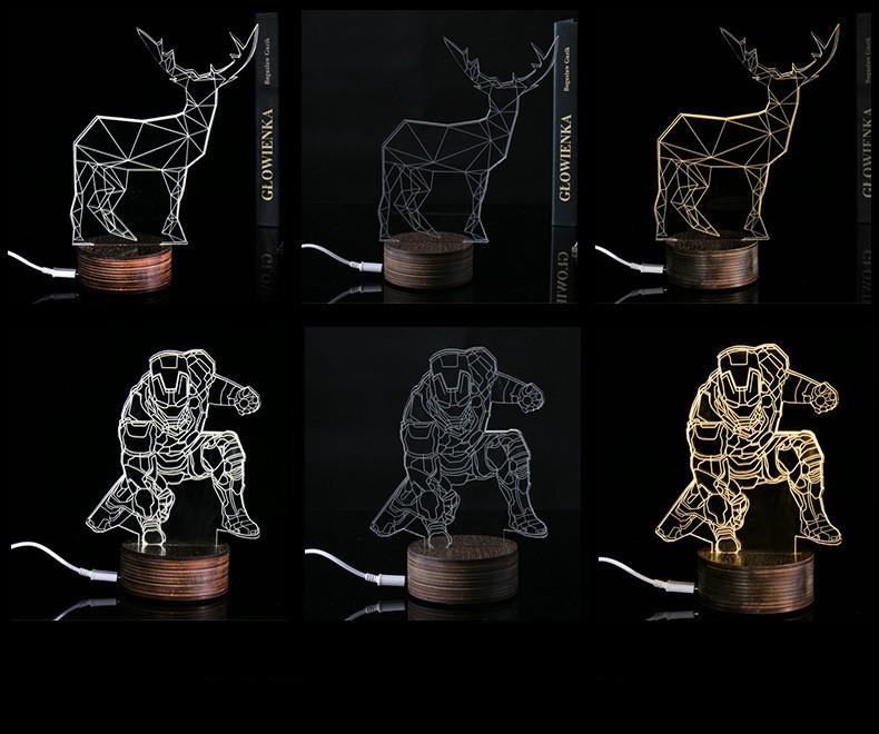 Mejor Regalo Creativo 3D Efecto Visual 3D LED Luz de La Noche de ...