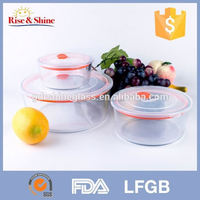 3pcs round pyrex glass water container with tap wtih plastic lid
