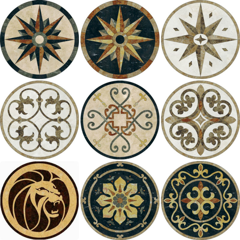 Waterjet Marble Medallions , Marble carpet Medallions , marble Inlay